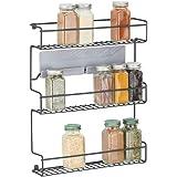mDesign étagère de cuisine à 3 niveaux – rangement de cuisine en métal autocollant – idéal comme range épices et pour organis