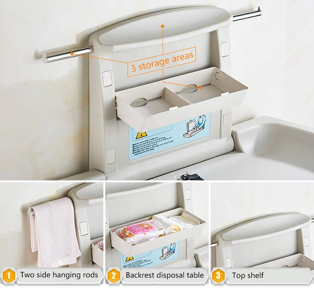 Wall Mounted Infant Changing Station Horizontal Folding, Nursery Organizer Diaper Table with Safety Straps (Gray) GUYUE Thick antibacterial HOPE / high density polyethylene materia, safe and non-toxic, reducing cross-contamination, effective anti-static. Compliance: Hydraulic jack design, safe controlled opening and closing. Size- As shown, 86x58x49cm(1cm=0.39 inch) Suitable for babies weighing less than 35kg. 5