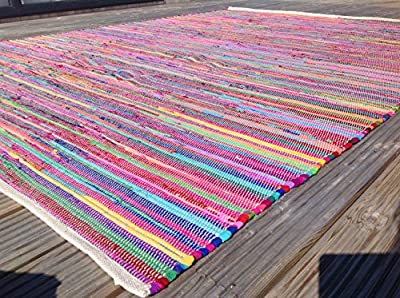 Gorgeous Second Nature Eco-Friendly Multi Coloured Chindi Rag Rug - Choose from over twelve sizes! - inexpensive UK light store.