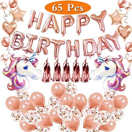 Hezbjiti Decorazione Festa di Compleanno Happy Birthday Banner,20 Palloncini in Lattice d'oro Rosa,20 Palloncini Trasparenti con coriandoli d'oro Rosa,2 enormi Palloncini a Foglio in Unicorno.