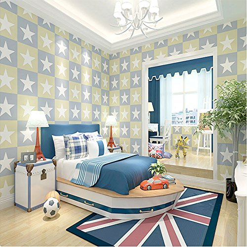 Qihang cameretta bambini carta da parati Capitan America grande pentagramma stile boy camera da letto 0,53m * 10m = 5.3sqm, Non-lana, Light Blue, 0.53m wide,10m length,about 5.3 Square meters