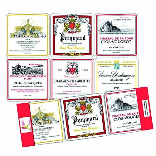 SOUS VERRES SOUS BOCK ETIQUETTES 6 VINS DE BOURGOGNE PRESTIGIEUX FRANCE
