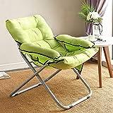 Bndf Lazy Small Sofa Semplice Sedia Pieghevole per Il Tempo Libero Sedia da Ufficio Sedia da Letto Singolo Dormitorio Balcone Alta: 95cm (Color : Green)