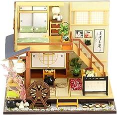 DIY Kleines Haus Waldhaus Japanischer Stil Hütte Puppenhaus mit Staubschutz ohne Werkzeug