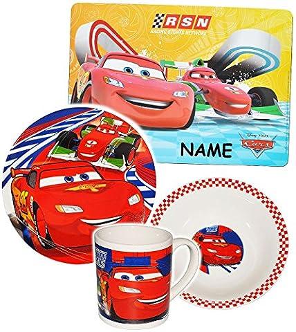 """4 tlg. Geschirrset - """" Disney Cars - Lightning McQueen / Auto """" - incl. Name - Porzellan / Keramik - Trinktasse + Teller + Müslischale + Platzdeckchen - Kindergeschirr - Frühstücksset für Kinder - Jungen - Eßgeschirr - Frühstücksgeschirr Geschirr - Fahrzeuge / Auto - Fahrzeug - Suppenteller - Müsli / Suppe - Frühstück & Abendessen"""