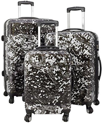Kofferset Gepäckset Polycarbonat ABS Hartschalen Koffer 3tlg. Set Trolley Reisekoffer Reisetrolley Handgepäck Boardcase PM (Black Glamour)