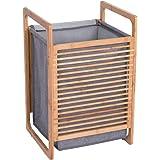 Panier à linge en bambou avec couvercle et poignées - Panier à linge amovible et lavable - Grande capacité (gris 1)