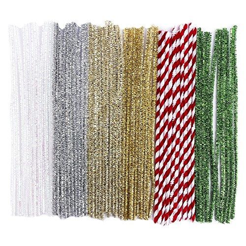 60 Pfeifenputzer/Pfeifenreiniger, Metallic, Plüsch & Glitzer, 30cm lang, verschiedene Farben: weiß irisierend, silber, hellgold, gold, rot, grün   Basteln für Weihnachten, Zuckerstangen-Optik