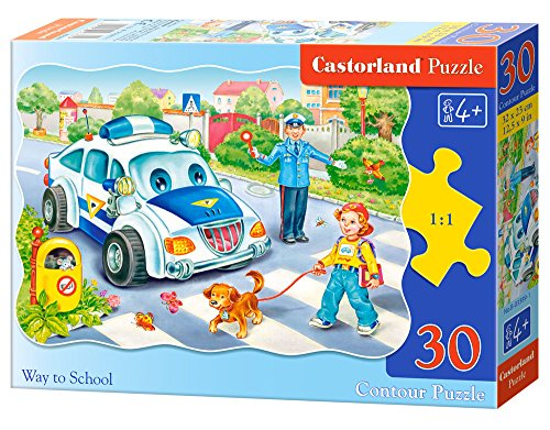 CASTORLAND Way to School 30 pcs Contour Puzzle 30 Pieza(s) - Rompecabezas (Contour Puzzle, Dibujos, Preescolar, Niño/niña, 4 año(s), Interior y Exterior)