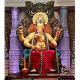 """Ganesha Painting, Ganesha Canvas Painting,Ganesha Canvas Wall Painting Size 24""""by 32"""" Through The HD Digitally Printed Frame-Less By Mode Stoff"""