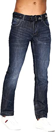 Crosshatch Mens Designer Straight Leg Denim Jeans & Belt Regular to King Sizes