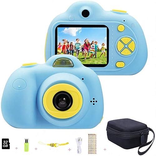 YunLone ToyZoom 1080P HD Bambini Fotocamera Selfie Macchina Fotografica 18MP Videocamera con Scheda 32 GB Regalo Compleanno per Bambini (Blu)