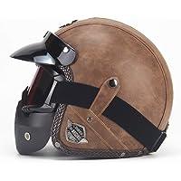 Sconosciuto Caschi in pelle PU Casco moto Chopper Casco moto aperto Casco moto vintage Maschera maschera Casco integrale…