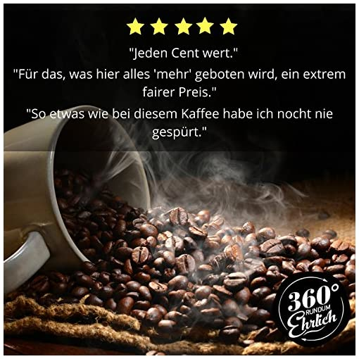 """""""360° rundum ehrlich"""" (360° Truly Honest) Coffee, Optimised for Bulletproof Coffee, 100% Honduras Arabica Highland Whole Coffee Beans, Organically Grown, Fair Traded, Delicious Roasting Flavours, A Hint of Chocolate, Easily Digestible, Low Acidity"""