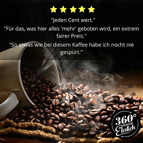 """360° rundum ehrlich"" (360° Truly Honest) Coffee, Optimised for Bulletproof Coffee, 100% Honduras Arabica Highland Whole Coffee Beans, Organically Grown, Fair Traded, Delicious Roasting Flavours, A Hint of Chocolate, Easily Digestible, Low Acidity"