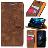 LG Q7 - Comfortable Leather Cover Wallet Style Flip Cover Case for LG Q7 ONLY (LG Q7 Cover Brown)