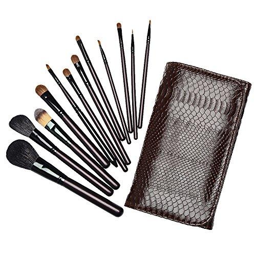 marron 12 pcs / set pinceaux de maquillage pour le contour, fond de teint, fard à paupières eyeliner à lèvres brosses cosmétiques