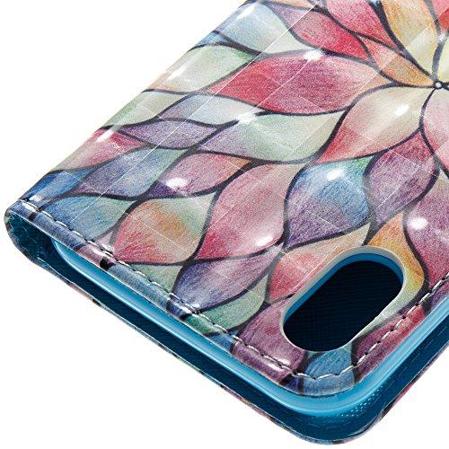 iPhone 10 iPhone X Hülle, Nnopbeclik Ultra Slim Fit, Kickstand, Card Slot, Anti-Rutsch Soft TPU Stoßfänger, Sonnenblumen Flip Leder PU Wallet Case für iPhone 10 iPhone X 5,8 Zoll Blumen C