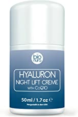 Hyaluronsäure Nachtcreme für das Gesicht. Lift Anti-Aging-Feuchtigkeitscreme. Nachtpflege für straffere und glattere Haut, Anti-Falten-Wirkung, Gesichtscreme repariert Hautschäden. Verbessert schlaffe und faltenreiche Haut mit der wirkungsvollen Kombination von veganen und natürlichen Zutaten. Peptide, Hyaluron, CoQ10, AHA, Vitamin E, Glykolsäure, Jojobaöl, Aloe Vera und Olivenöl. Vegane Gesichtspflege für Frauen und Männer aller Hauttypen. 50 ml