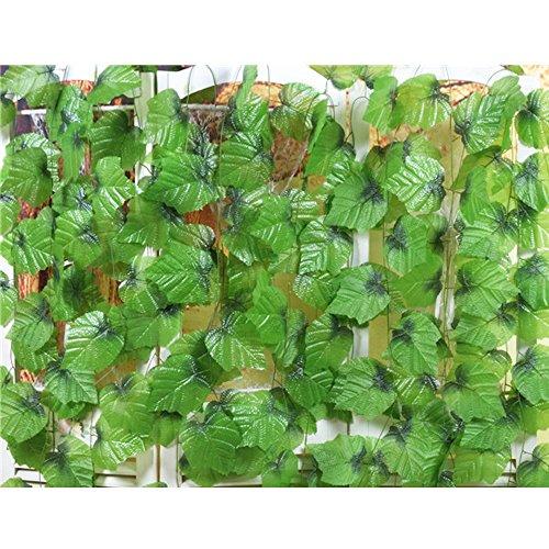 Miguor 12Pack 93FT Künstliche Vines Dekoration Fake Big Traube, Blätter Pflanzen Deckenleuchte Dekoration Big Widget Dekoration Verwenden Keine Blätter Fallen Off Grün