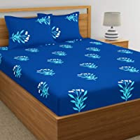 Home Ecstasy 100% Cotton Double bedsheets with 2 Pillow Covers Cotton, 140tc Floral Blue bedsheets for Double Bed Cotton…