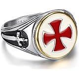 BOBIJOO JEWELRY - Anillo Anillo Anillo De Hombre De Los Templarios De La Vendimia De La Cruz Roja Espada De Acero Inoxidable