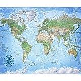 decomonkey Fototapete Weltkarte 250x175 cm XL Tapete Fototapeten Vlies Tapeten Vliestapete Wandtapete moderne Wandbild Wand Schlafzimmer Wohnzimmer Landkarte Kontinent blau grün