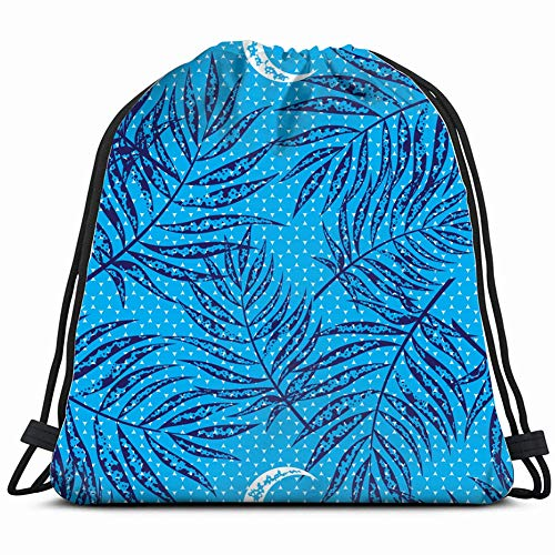DD Decorative Dark Blue Tropical Tree Beauty Fashion Drawstring Backpack Gym Sack Lightweight Bag Water Resistant Gym Backpack for Women&Men for Sports,Travelling,Hiking,Camping,Shopping Yoga