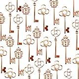 Makhry Pack Mixte de 30 Clés Squelette Vintage en Or Rose Pack de 30 Clés(Or Rose)