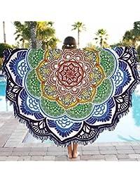Tongshi Ronda del Hippie de la borla de la tapicería de la playa banda Mandala Toalla Yoga Mat Bohemia