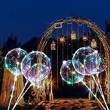 8 PCS/4 PACK Luftballons, 45,8 cm/ 3 m (18 Zoll/9,84 Fuß), LED-Ballons, mit Halterungsstäben, für Geburtstage, Hochzeiten, Feste, Dekoration, mehrfarbig