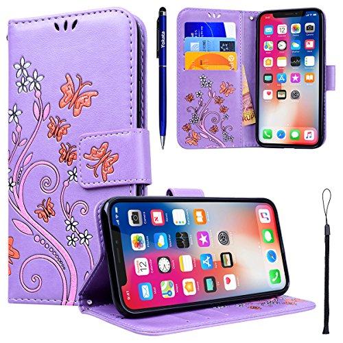 Yokata iPhone X Hülle Leder Premium Handyhülle Handy Ledertasche Schutzhülle Flip Case Wallet Tasche Handytasche Weiche Silikon Backcover Innere mit Kartenfach Standfunction und Magnetverschluss Brief Lila