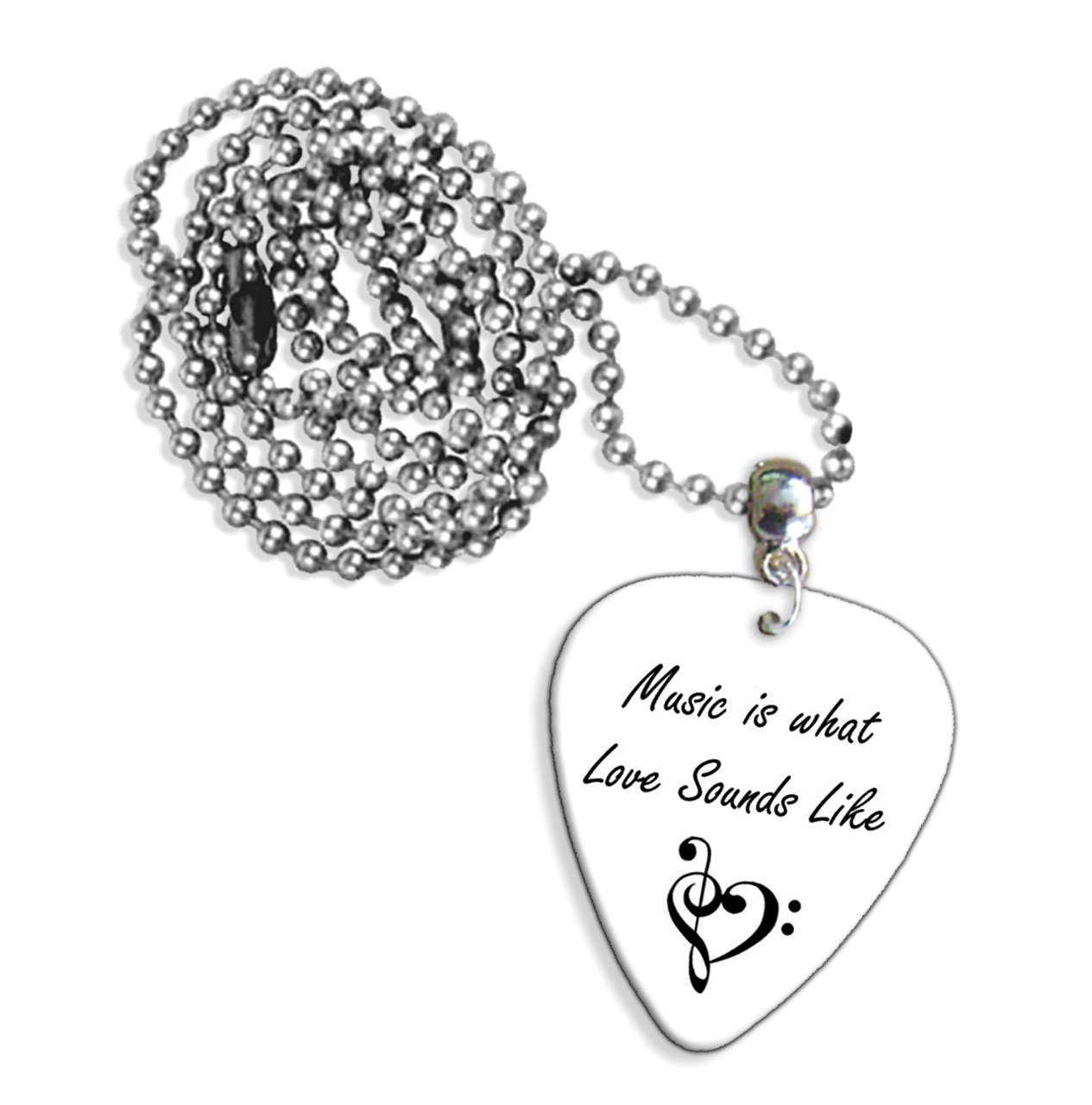 Music Is What Love Sounds Like Anniversary Chitarra Pick Necklace Collana (GD)