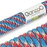 Paracord 550 Seil, 15 Meter, für Armband, Knüpfen von Hundeleine oder Hunde-Halsband zum selber machen / Seil mit 4mm Stärke / Mehrzweck-Seil / Survival-Seil / Parachute Cord belastbar bis 250kg (550lbs), Farbe: hellblau, weiß, rot, Marke Ganzoo