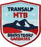 2 x MTB Abzeichen 51 x 60 mm gestickt / Transalp Oberstdorf - Gardasee / Alpencross Alpenüberquerung Radtour Mountain-Bike / Aufnäher Aufbügler Sticker Flicken Patch / Radführer Radkarte Reiseführer
