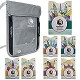 Pochette Tour de Cou Voyage Protection Pickpockets – Anti Vol Informations Carte Bancaire Sans Contact Ideal Cadeau Voyage Noel (Argent + 7 RFID Sleeves)...