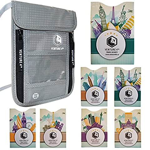 Pochette Tour de Cou Voyage Protection Pickpockets – Anti Vol Informations Carte Bancaire Sans Contact Ideal Cadeau Voyage Noel (Argent + 7 RFID Sleeves)