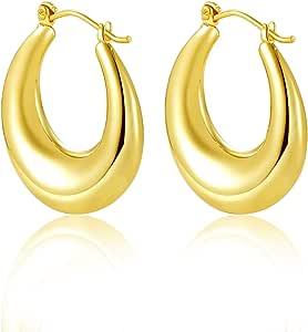 Orecchini a cerchio da donna, in oro 9 carati, alla moda, grandi orecchini da donna per europei.