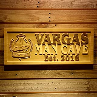 AdvPro Wood Custom wpa0160 Name Personalized MAN CAVE Party Time with Established Year Wood Engraved Wooden Sign - Large 67.5 cm x 27.0 cm
