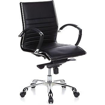 hjh office 660502 b rostuhl chefsessel parma 10 leder schwarz designklassiker hochwertige. Black Bedroom Furniture Sets. Home Design Ideas