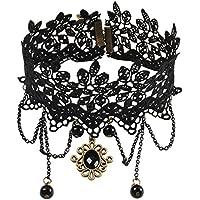 Jane Stone - Collana girocollo choker, con pizzo a fiori, colore: nero, stile gotico, con (Lace Choker)