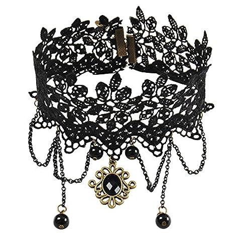 Jane Stone Collier Ras du Cou Pendant Gothique Lace Dentelle Noir Fleur Lolita Retro Vintage (Lace Choker)