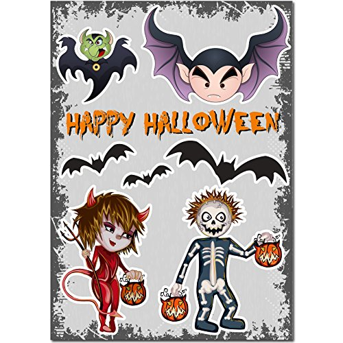 Aufkleber - Halloween-Set 03 - 70 cm x 50 cm - Sticker - Wandtattoo - Fenster - Laptop