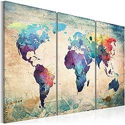 Echi 3Panel decoración de la pared pintura al óleo moderna Lienzo Mapa del mundo mapa Vintage Art, para el hogar, sala de estar, dormitorio, oficina, restaurante, como moderna galería arte–3colores (sin marco)