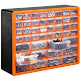 VonHaus Casier/Armoire de Rangement 44 Tiroirs/Compartiments – Noir/Orange