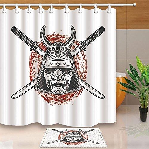 gohebe Asiaten Decor Japanische Samurai Warrior Maske mit Katana Schwert 180,3x 180,3cm Schimmelresistent Polyester Stoff Vorhang für die Dusche Anzug mit 39,9x 59,9cm Flanell rutschfeste Boden Fußmatte Bad Teppiche (Samurai-masken Japanische)