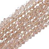 nbeads Glas Perlen Strähnen, ab Farbe vergoldet, facettiert, Bicone, beige, 4X 4mm, Loch: 1mm, über 118pcs/Strähne
