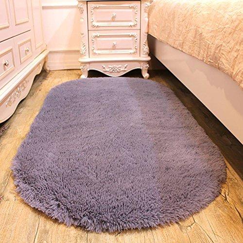 Pingenaneer Weich und Flauschig Fleece Teppiche 80 x 160cm für Wohnzimmer und Schlafzimmer, Rutschfest, Saugfähig Teppich Antibakteriell Vorleger Teppich Oval Shaped - Grau