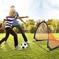 Homgrace 2 Porterías de Fútbol plegable, Práctica Juego de Fútbol Mini Portería Ligero y Puerta Fútbol Portátil para Niños Color Negro y Naranja (79x60x62cm)