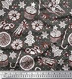 Soimoi Grau Kunstseide Stoff Gewürze, Kekse & Kuchen